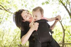 Mother and daughter in forest Stock Photo