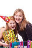 Mother and daughter with gift box Stock Photography