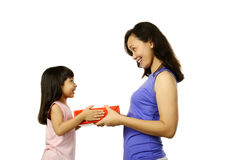 Mother And Daughter With Gift Box Stock Photos