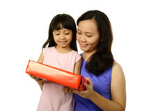 Mother And Daughter With Gift Box Stock Image