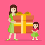 Mother and Daughter with Gift Flat Design Vector Royalty Free Stock Photo