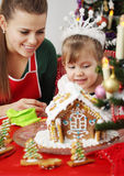 Mother and daughter and gingerbread house Stock Image