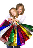 Mother and daughter go shopping Stock Images