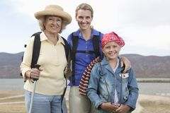 Mother, Daughter And Granddaughter Hiking royalty free stock images