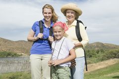 Mother, Daughter And Granddaughter Hiking Royalty Free Stock Photos