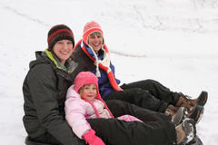Mother, Daughter, Granddaughter in Winter Stock Photo