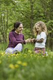 Mother and daughter in the grass with flowers Stock Photos