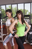 Mother and daughter in the gym. Two fitness ladies, mother and daughter, posing at the gym Royalty Free Stock Photo