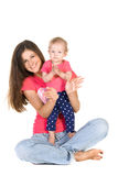Mother and daughter in hands applauding Stock Photo