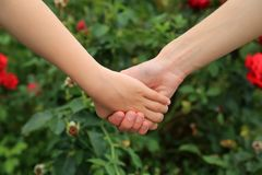 Mother and daughter hands together Royalty Free Stock Photography