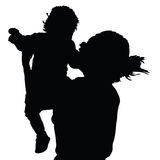Mother with daughter happy black vector Stock Photos