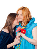 Mother and daughter happy hugging isolated Royalty Free Stock Photography