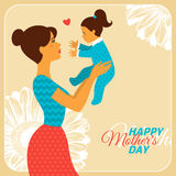 Mother and Daughter with Happy Mothers Day Royalty Free Stock Photo