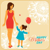 Mother and Daughter with Happy Mothers Day Stock Photos