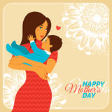 Mother and Daughter with Happy Mothers Day Stock Photo