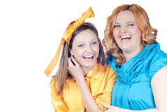 Mother & daughter happy smiling isolated Royalty Free Stock Photo