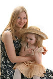 Mother daughter and hat. Story about girl  mother and  hat Royalty Free Stock Photo