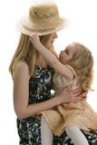 Mother daughter and hat. Story about girl  mother and  hat Royalty Free Stock Images