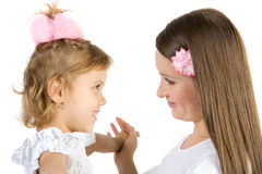 Mother and daughter have fun. Royalty Free Stock Photos