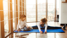 Mother and daughter have fun in the gym Royalty Free Stock Photography