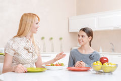Mother and daughter have lunch stock images