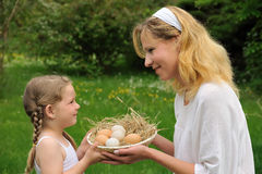 Mother and daughter having Easter time Royalty Free Stock Photo
