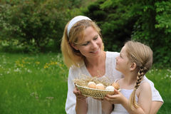 Mother and daughter having Easter time Stock Image