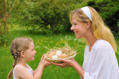 Mother and daughter having Easter time Royalty Free Stock Photos