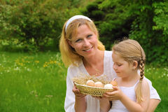 Mother and daughter having Easter time Royalty Free Stock Images