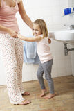 Mother And Daughter Having Fun In Bathroom Royalty Free Stock Images