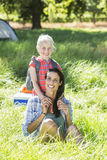 Mother And Daughter Having Fun On Countryside Camping Trip Stock Images