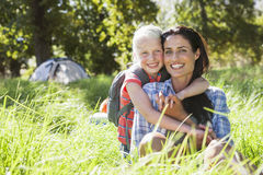 Mother And Daughter Having Fun On Countryside Camping Trip Royalty Free Stock Photography
