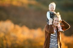 Mother and daughter in a field Stock Images