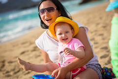 Mother and daughter having fun on holidays Royalty Free Stock Photography
