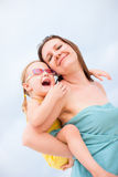 Mother and daughter having fun outdoors Royalty Free Stock Photos