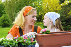 Mother and daughter having gardening time Royalty Free Stock Photography