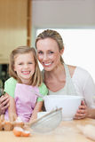 Mother and daughter having good time in the kitchen Stock Images