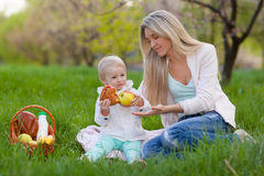 Mother and daughter having picnic Royalty Free Stock Images
