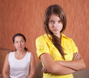 Mother and daughter having quarrel royalty free stock photo