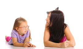 Mother and daughter having relationship difficulties isolated Stock Photography