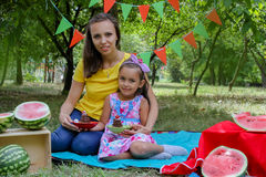 Mother and daughter having summer picnic Stock Image