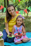 Mother and daughter having summer picnic Stock Images
