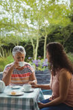 Mother and daughter having tea Stock Photography