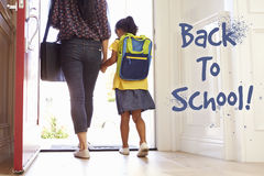Mother And Daughter Heading Back To School Stock Photos