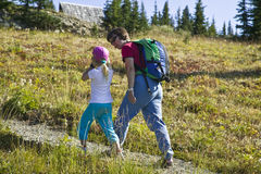 Mother and daughter hiking Royalty Free Stock Image