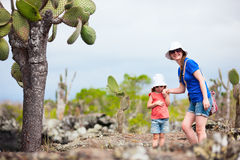 Mother and daughter hiking at Galapagos islands Stock Image