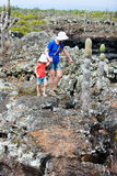 Mother and daughter hiking at Galapagos islands Royalty Free Stock Images