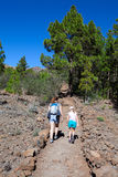 Mother with daughter hiking trail through the coniferous woods in the mountains of Teno. Volcanic pathway to Lunar Landscape. Tene Stock Photos