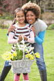 Mother And Daughter Holding Basket Of Daffodils Royalty Free Stock Photo
