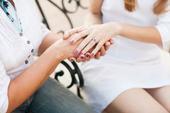 Mother and daughter. Holding hands Stock Photo
